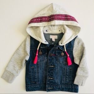 12-18mth Pumpkin Patch Boho Denim Jacket with Removeable Hood Trimming Tassels